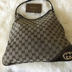Authentic Gucci Britt Medium Ebony Canvas Hobo Bag